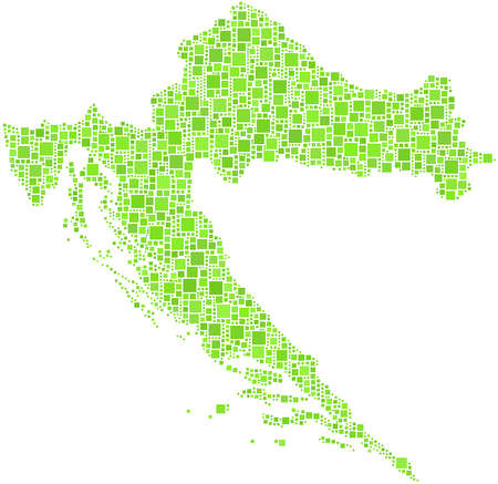 Decorative map of Croatia - Europe - in a mosaic of green squares