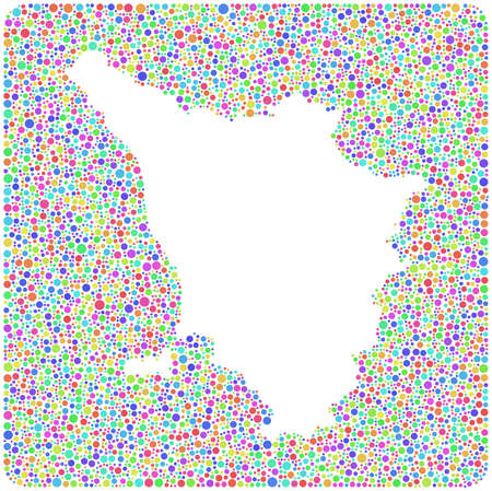 Map of Tuscany - Italy - into a square icon  Mosaic of harlequin circles Vector