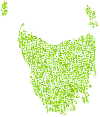tasmania: Map of the state of Tasmania - Australia - in a mosaic of green square