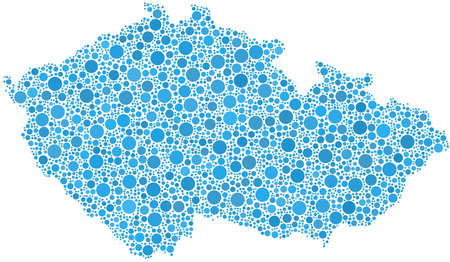 Map of Czech Republic - Europe - in a mosaic of blue circles