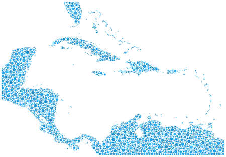 Decorative map of Caribbean Islands in a mosaic of blue bubbles Vetores