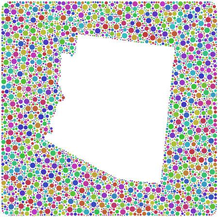 Decorative map of Arizona into a square icon. Mosaic of colored circles