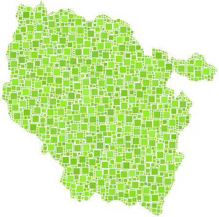 Decorative map of Lorraine - France - in a mosaic of green squares  White background Illustration
