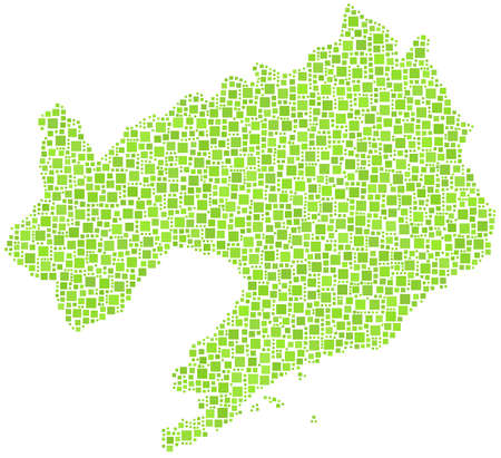 Decorative map of Liaoning province of China in a mosaic of green squares Vector