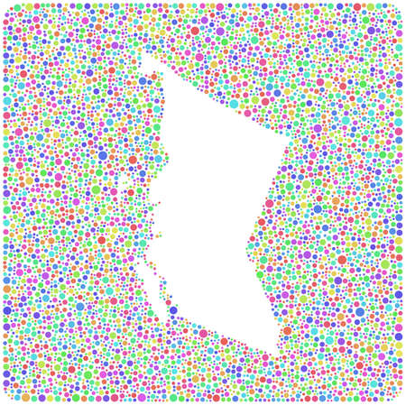 Map of British Columbia - Canada - into a colored icon. Mosaic of harlequin bubbles Vector