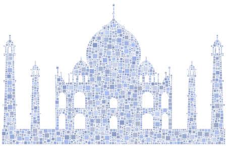 shah: Decorative mosaic of the Taj Mahal mausoleum - India -