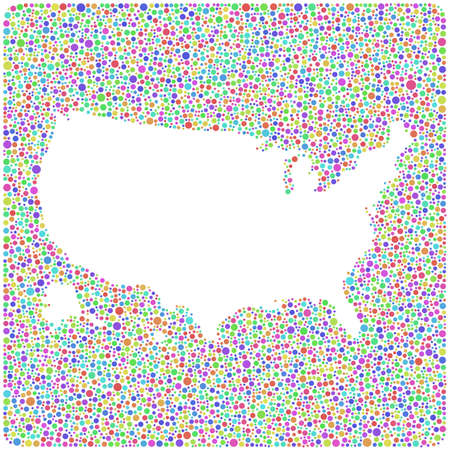 geography: Decorative map of USA - America - into a square icon. Mosaic of harlequin circles