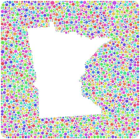 arlecchino: Mappa del Minnesota (USA) in una icona quadrato colorato. Mosaico di ambienti arlecchino