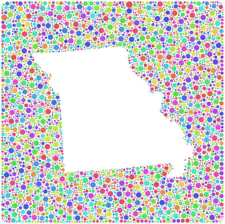 jefferson: Map of Missouri - USA - in a mosaic of harlequin bubbles Illustration