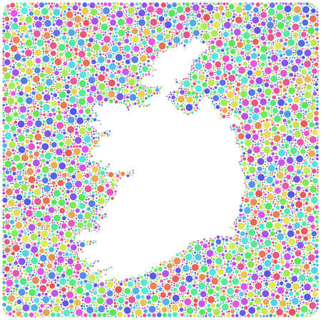 irish sea: Isolated map of Ireland into a square icon. Mosaic of circles harlequin