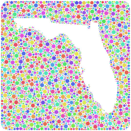 jacksonville: Map of Florida - USA - into a square icon. Mosaic of colored circles