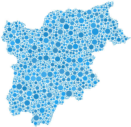 Decorative map of Trentino Alto Adige - Sudtirol - in a mosaic of blue circles Vector