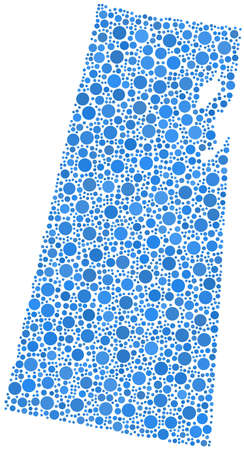 regina: Decorative map of Saskatchewan - Canada - in a mosaic of blue bubbles Illustration