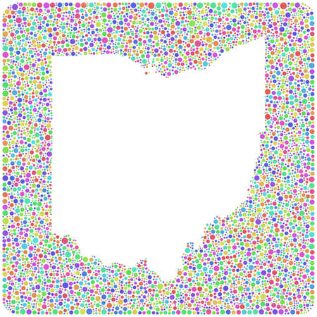 midwest: Map of Ohio - USA - in a mosaic of harlequin circles. White background