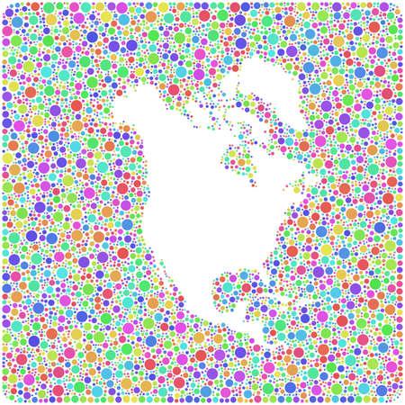Map of North America Continent into a square icon