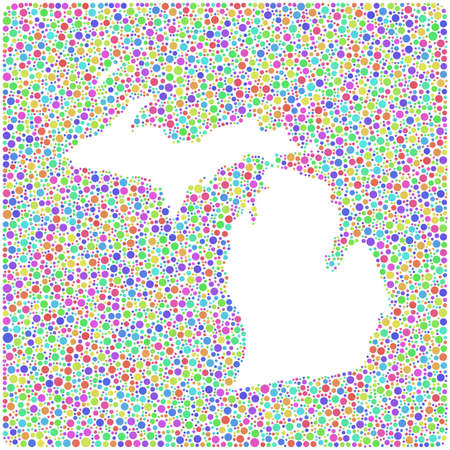 traverse: Map of Michigan - USA - into a square icon. Mosaic of harlequin bubbles Illustration