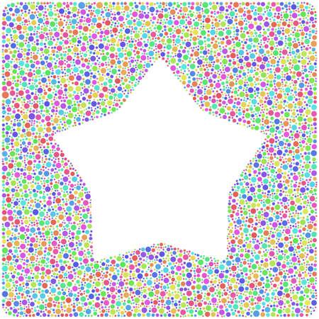 arlecchino: Livellato stella in un'icona quadrata. Mosaico di cerchi arlecchino