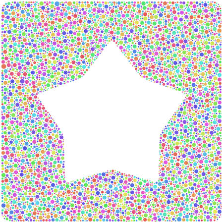 smoothed: Smoothed star into a square icon. Mosaic of harlequin circles
