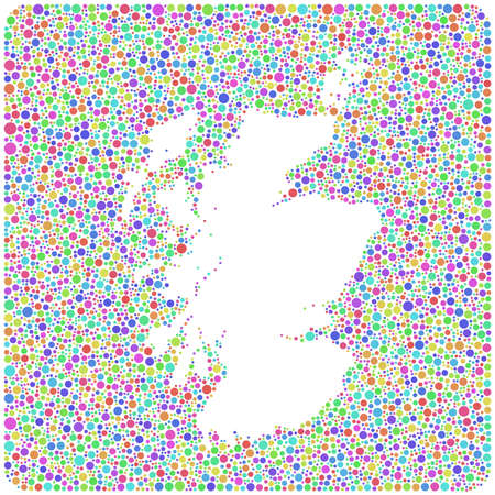 Map of Scotland - UK - into a square icon. Mosaic of harlequin bubbles