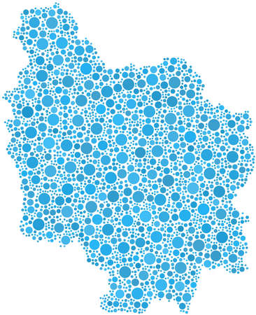 Decorative map of Burgundy - French - in a mosaic of blue bubbles