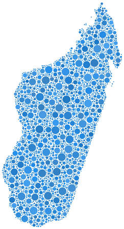Decorative map of the Republic of Madagascar - Africa - in a mosaic of blue bubbles Ilustrace