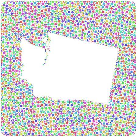 Map of Washington - USA - into a square icon. Mosaic of harlequin circles