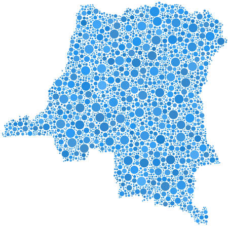Decorative map of the Republic of Congo in a mosaic of blue bubbles Ilustrace