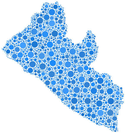 Decorative map of the Republic of Liberia - Africa - in a mosaic of blue bubbles