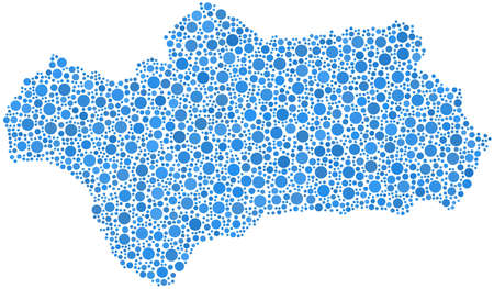 Geïsoleerde kaart van Andalusië Stock Illustratie