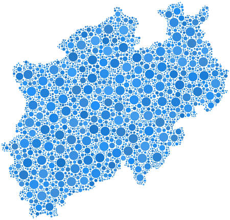 rhine westphalia: Map of North Rhine Westphalia  German  in a mosaic of blue bubbles Illustration