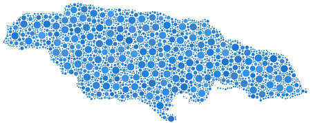 Map of Jamaica  America  in a mosaic of blue bubbles