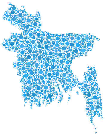 bangladesh: Map of Bangladesh  Asia  in a mosaic of blue bubbles