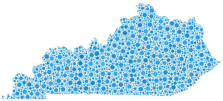 Decorative map of Kentucky  USA  in a mosaic of blue bubbles