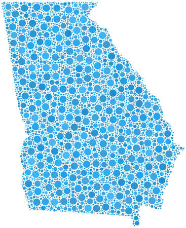 Map of Georgia  USA  in a mosaic of blue circles