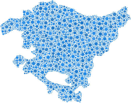 Region of The Basque Country in a mosaic of blue bubbles