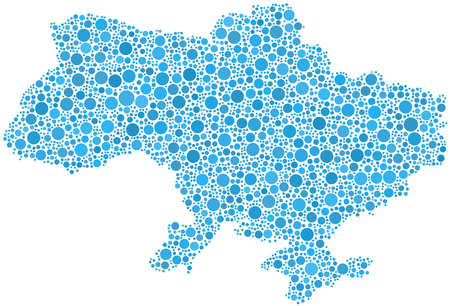 Decorative map of Ukraine in a mosaic of blue bubbles