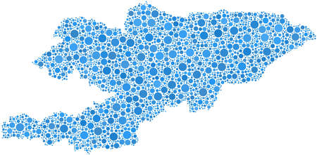 Decorative map of Kyrgyzstan - Asia - in a mosaic of blue bubbles