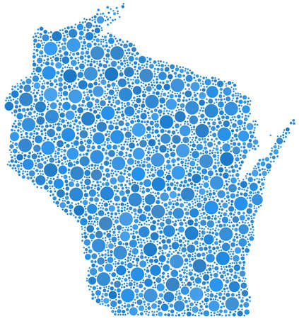 Decorative map of Wisconsin - USA - in a mosaic of blue bubbles Illustration