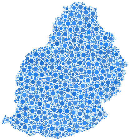 Decorative map of the Republic of Mauritius in a mosaic of blue bubbles Ilustrace