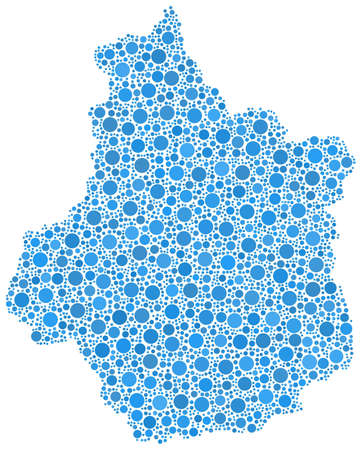Decorative map of the Centre region of France, in a mosaic of blue bubbles. White background