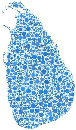 Decorative map of Sri Lanka - Asia - in a mosaic of blue bubbles Ilustrace