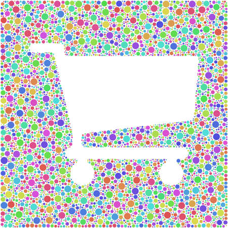 Shopping trolley symbol into a squared colored icon