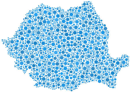 Decorative map of Romania - Europe - in a mosaic of blue bubbles