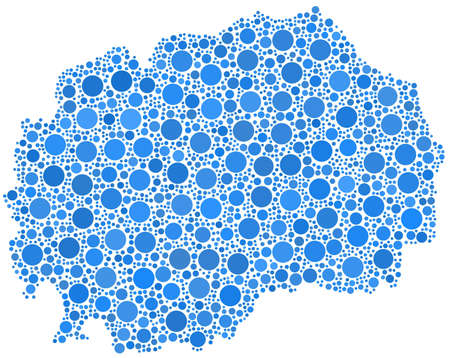 Decorative map of the Republic of Macedonia in a mosaic of blue bubbles Ilustrace