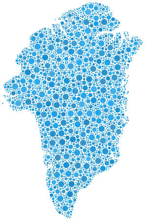 Decorative map of Greenland in a mosaic of blue bubbles