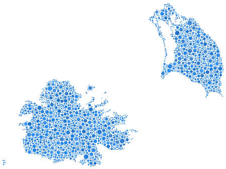 Decorative maps of Antigua and Barbuda - America - in a mosaic of blue bubbles