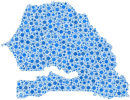 Decorative map of Senegal - Africa - in a mosaic of blue bubbles