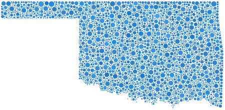 Decorative map of the State of Oklahoma - USA - in a mosaic of blue bubbles
