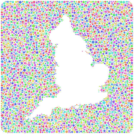 Decorative map of England - UK - in a mosaic of harlequin circles Ilustrace