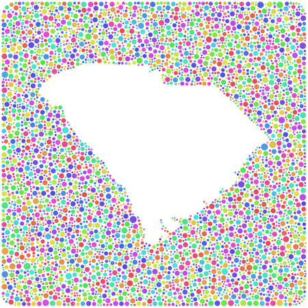 Map of South Carolina - USA - into a square icon. Mosaic of harlequin circles Illustration